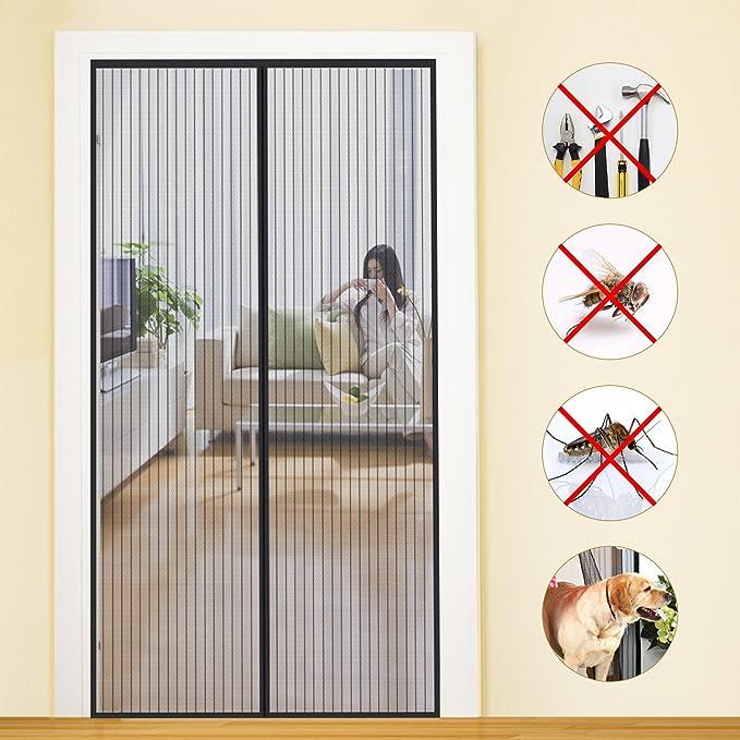 85x210cm Magn/étique moustiquaire Rideau de moustique-rideau Autocollant magique magnetic door door mesh Rideau mou Heavy duty Mute Fen/être de l/'/écran-I 33x83inch