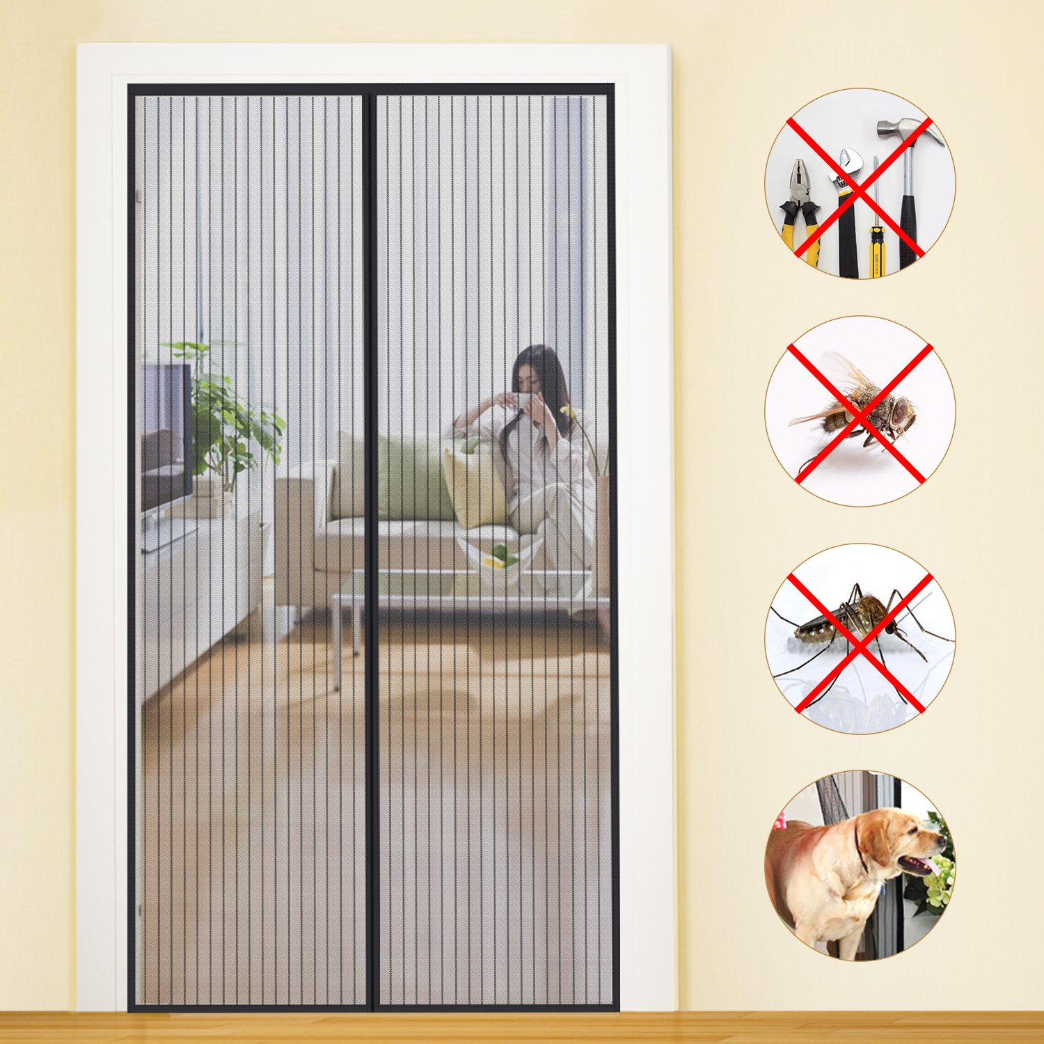 Magnetic screen door mycarbon heavy duty mesh doors 36x83 for Retractable screen door replacement magnet