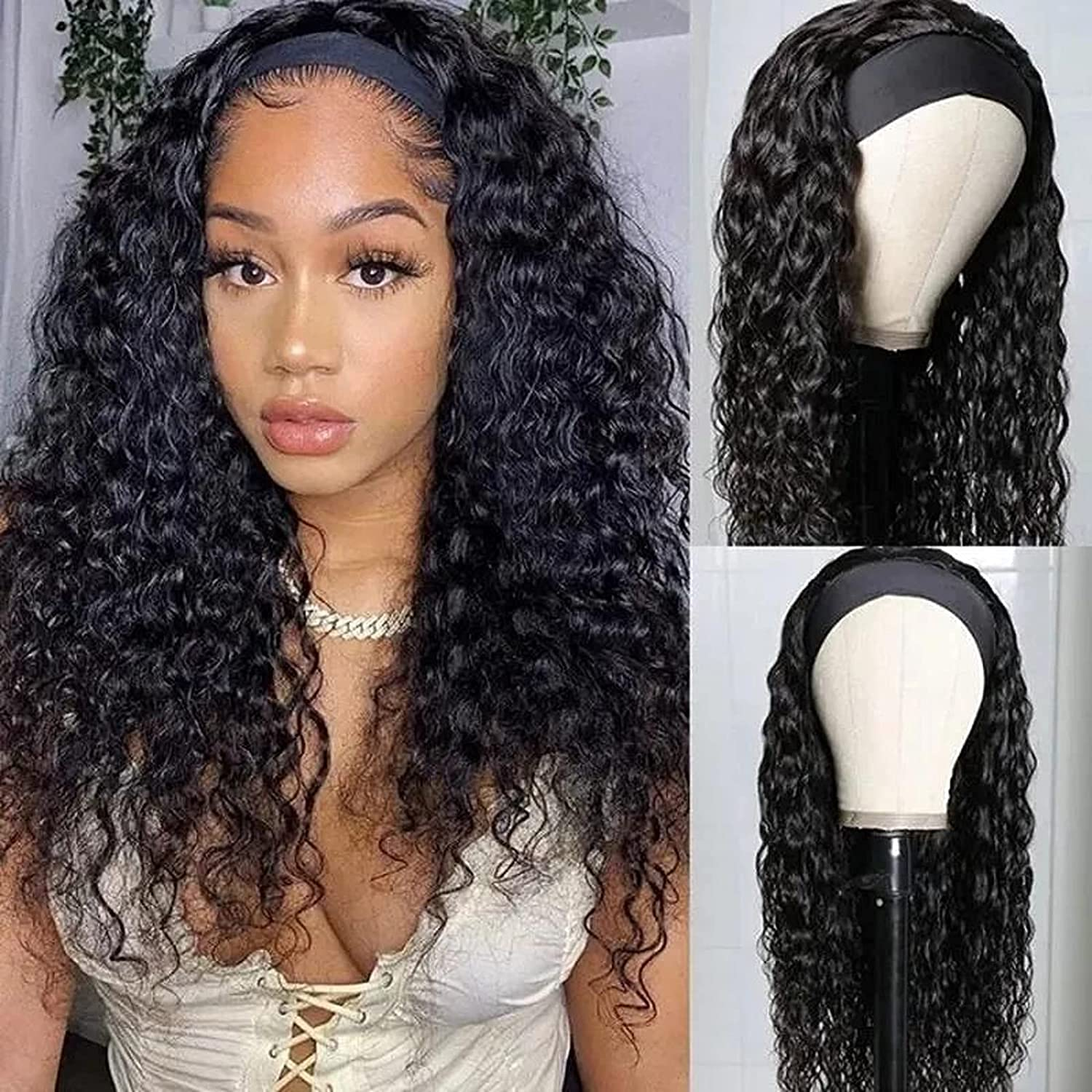 San Diego Mall Deep Wave Headband Direct store Wigs Human Hair Women Black Non Lace For