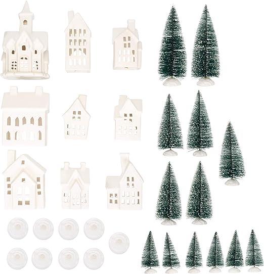 Amazon Com Mark Feldstein Associates Winter Village Led Tea Light 31 Piece Porcelain Tabletop Christmas Figurine Boxed Set Home Kitchen,Chinoiserie Wallpaper Panels Uk