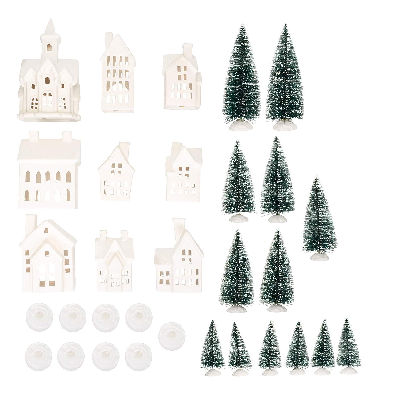 Mark Feldstein Winter Village LED Tea Light 31 Piece Porcelain Tabletop Christmas Figurine Boxed Set