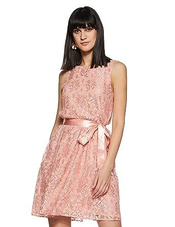 8a0ab599a69142 THE VANCA Women's Georgette A-Line Knee Long Dress (DRFN500268-PEACH-M