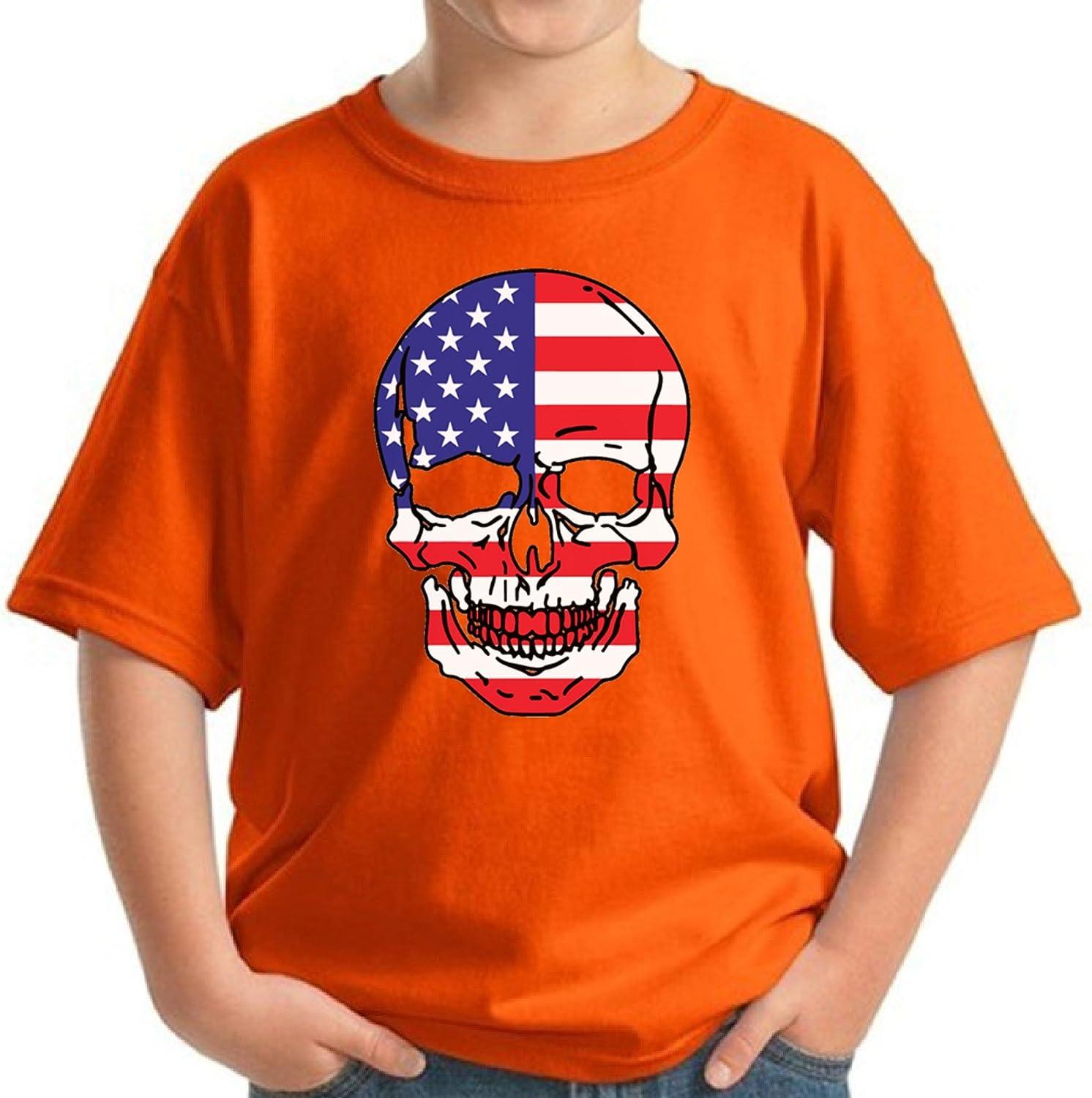 Pekatees USA Skull Shirt for Kids American Flag Tshirt Kids 4th of July Shirts