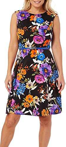 London Times Women's Cap Sleeve Floral Print Fit and Flare Keyhole A-Line Dress