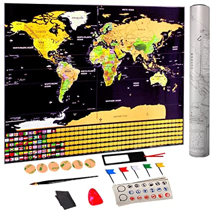 Amazon Com Scratch Off World Map Poster Of Ohuhu 32 5 X 23 4