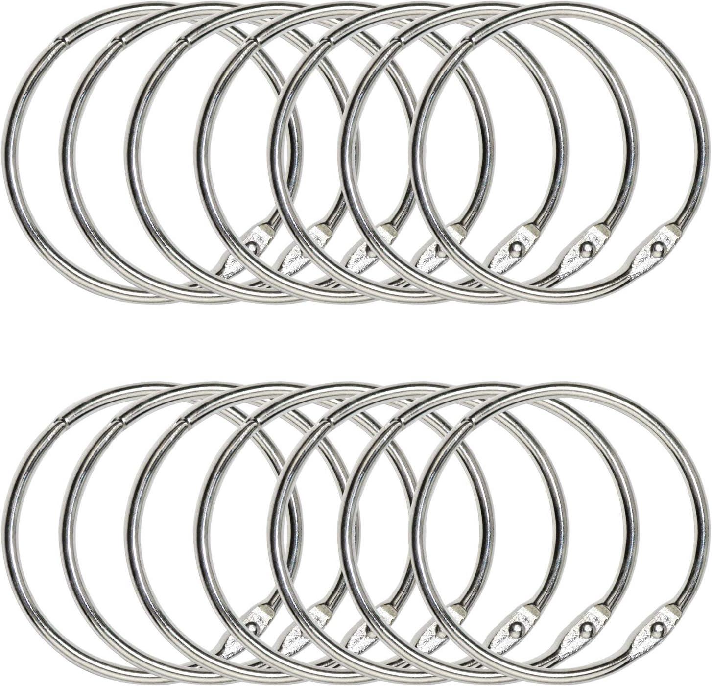 Loose Leaf Binder Rings 1 Inch Metal Book Rings Nickel Plated Silver 50 Pack
