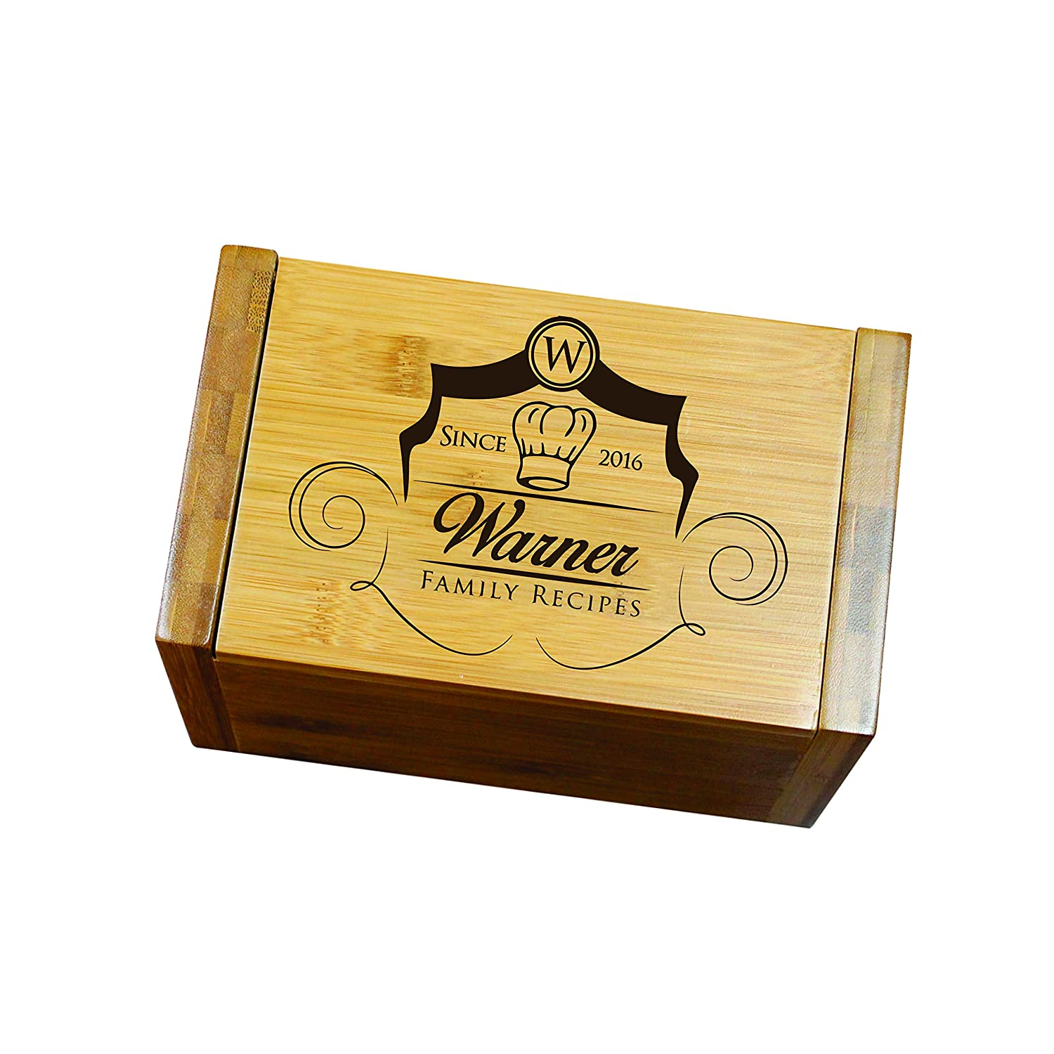 Personalized Recipe Box For Her - Custom Wood Recipe Organizer With Dividers - Kitchen Gift For Mom and Grandma