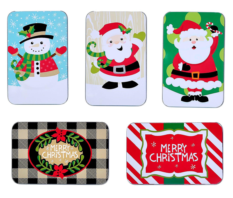 Amazon.com: Christmas Gift Card Tin Holders (Set of 4): Health ...