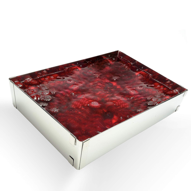 Adjustable Cake Tin rectangular Vario – Made in Germany – baking mould – cake cutter – cake ring – baking frame – cake tin for baking and decorating – stainless steel Menz Stahlwaren GmbH
