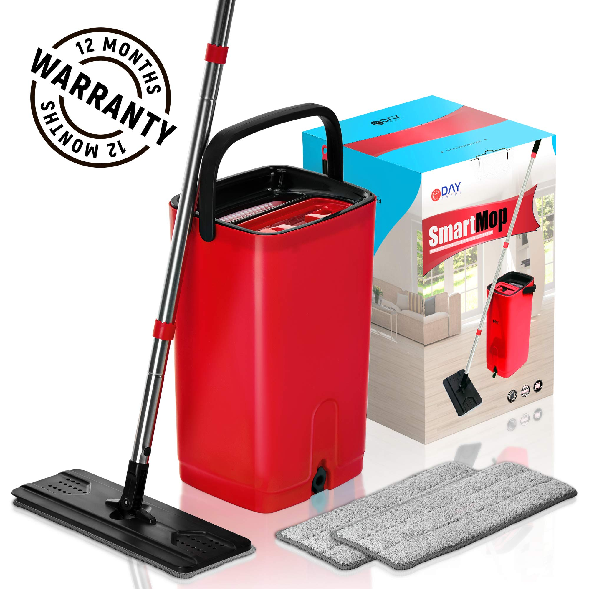 E-Day Smart Flat Mop Bucket with Wringer for Home Kitchen Floor Cleaning - Microfiber Mop System with Bucket and 2 Washable Mop Pads - Dry or Wet Floor Mop Set with Self-Cleaning System - Red by E-Day Smart (Image #1)