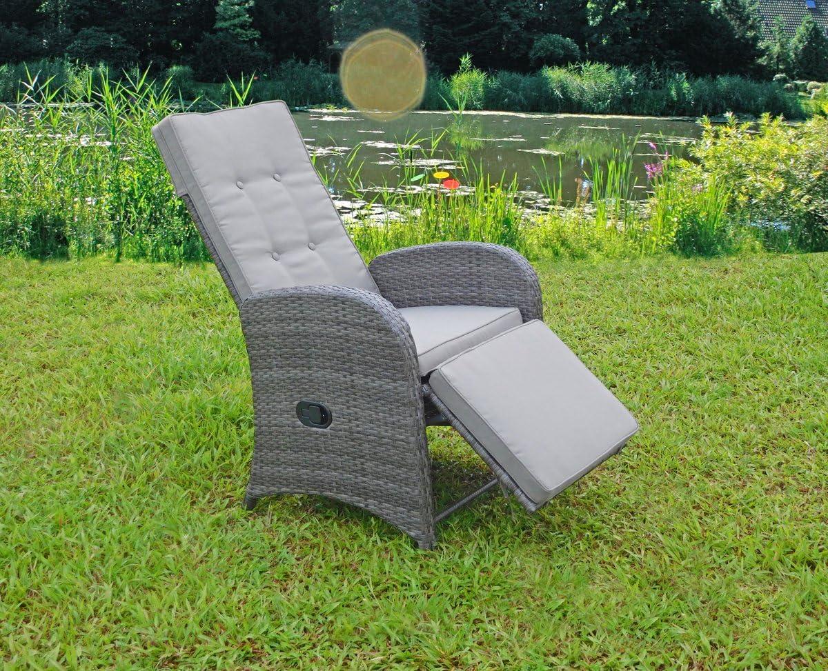 VARILANDO 2er-Set Relax-Sessel aus Aluminium und Kunststoffgeflecht in dunkelgrau Garten-Sessel