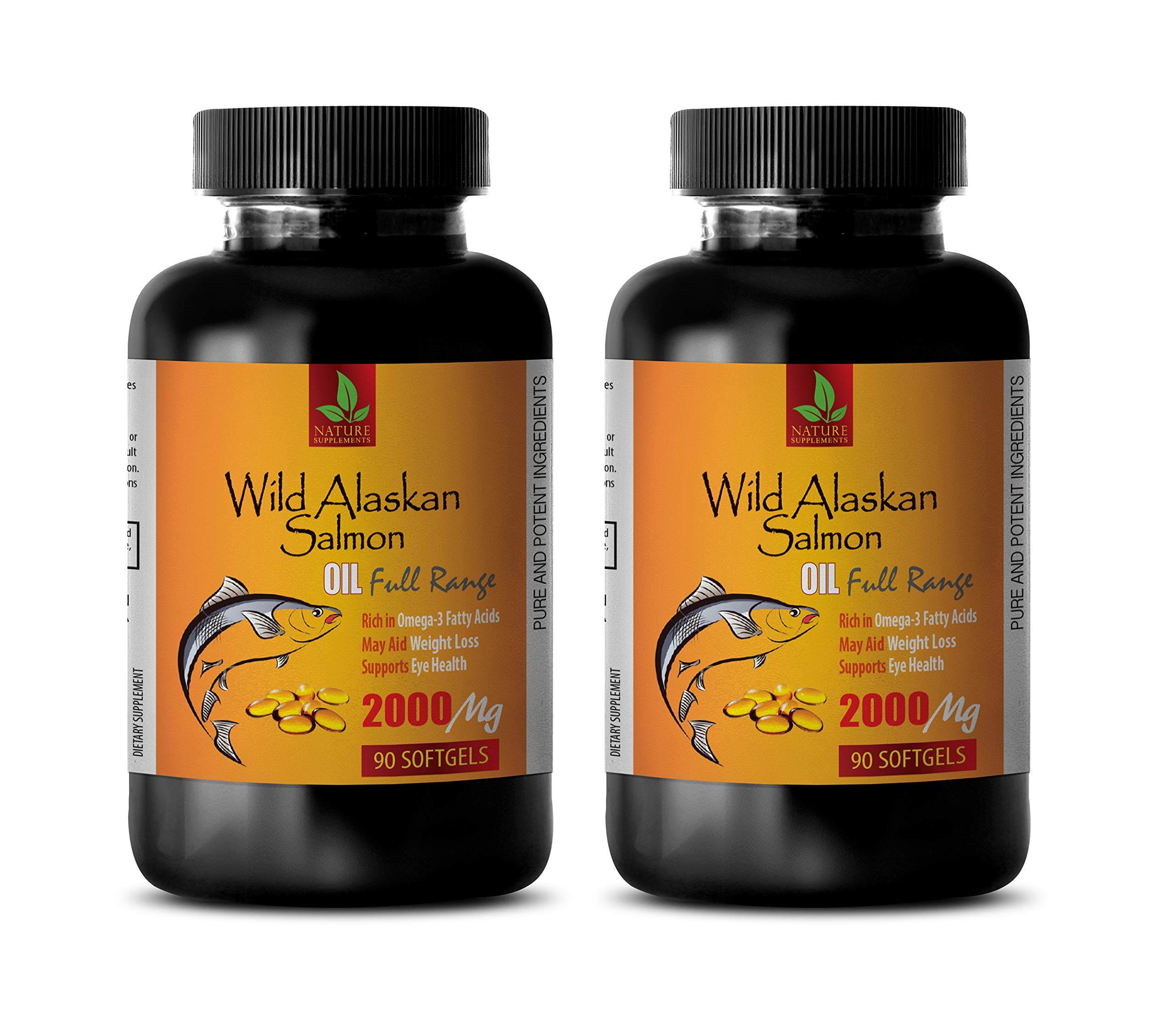 Brain Health Memory and Focus - Wild Alaskan Salmon Oil 2000 mg - Rich in Omega 3 Fatty ACIDS - Fish Oil Omega 3 Supplement - 2 Bottles 180 Softgels by NATURE SUPPLEMENTS