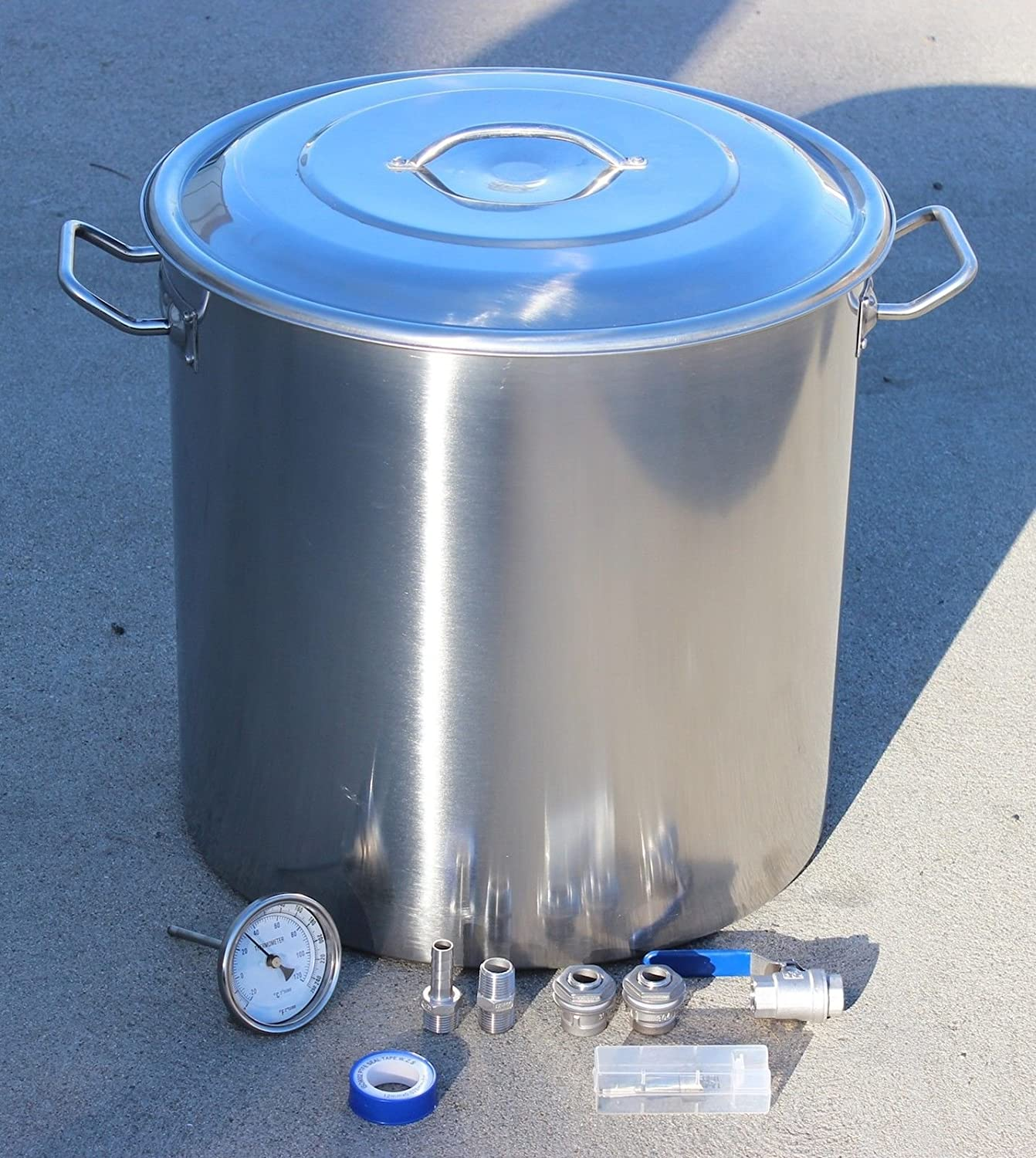Concord Home Brew Kettle DIY Kit Stainless Steel Beer Stock Pot w/ Accessories (80 QT)