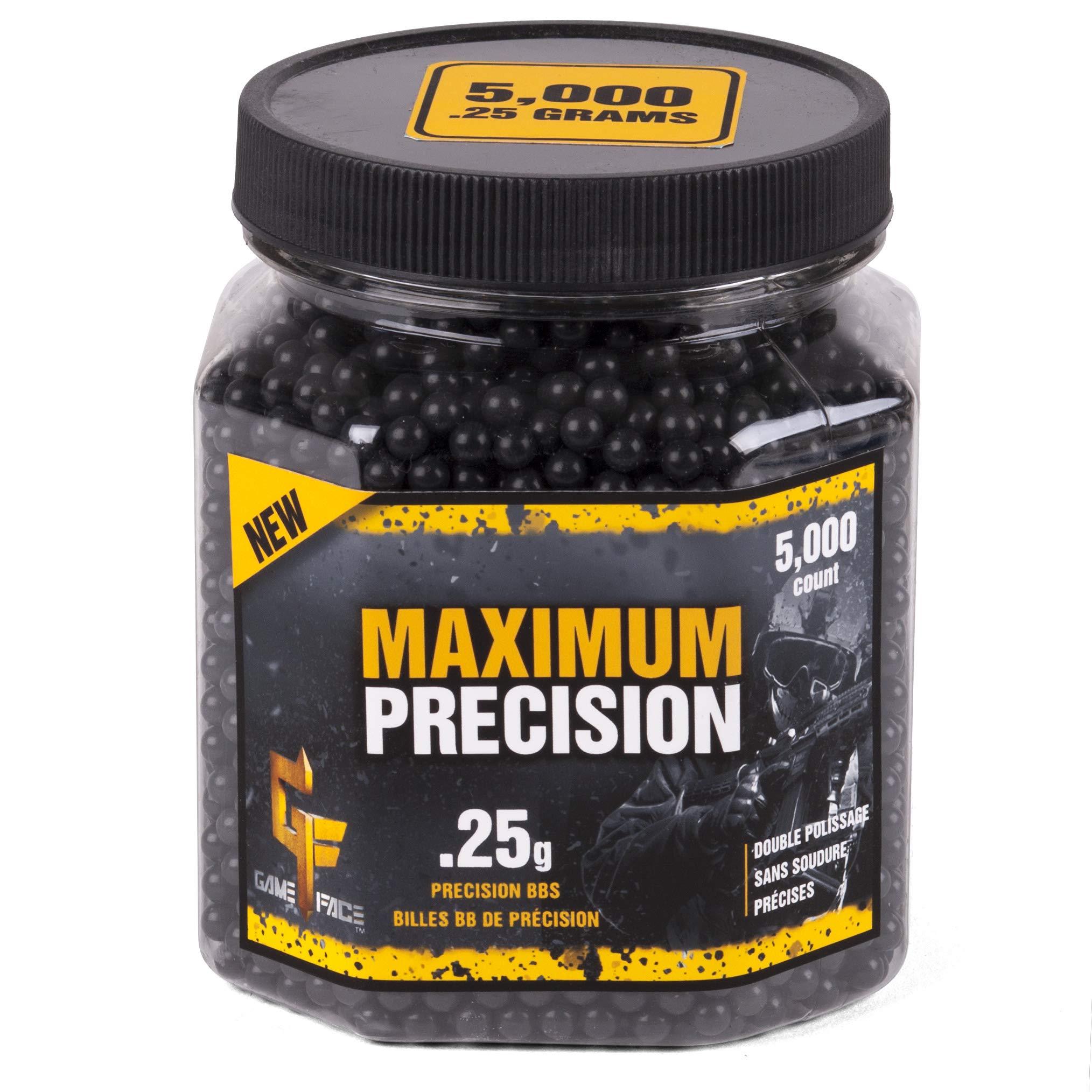 GameFace 25GPB5J Maximum Precision Heavy-Weight .25-Gram Black Airsoft BBs (5000-Count)