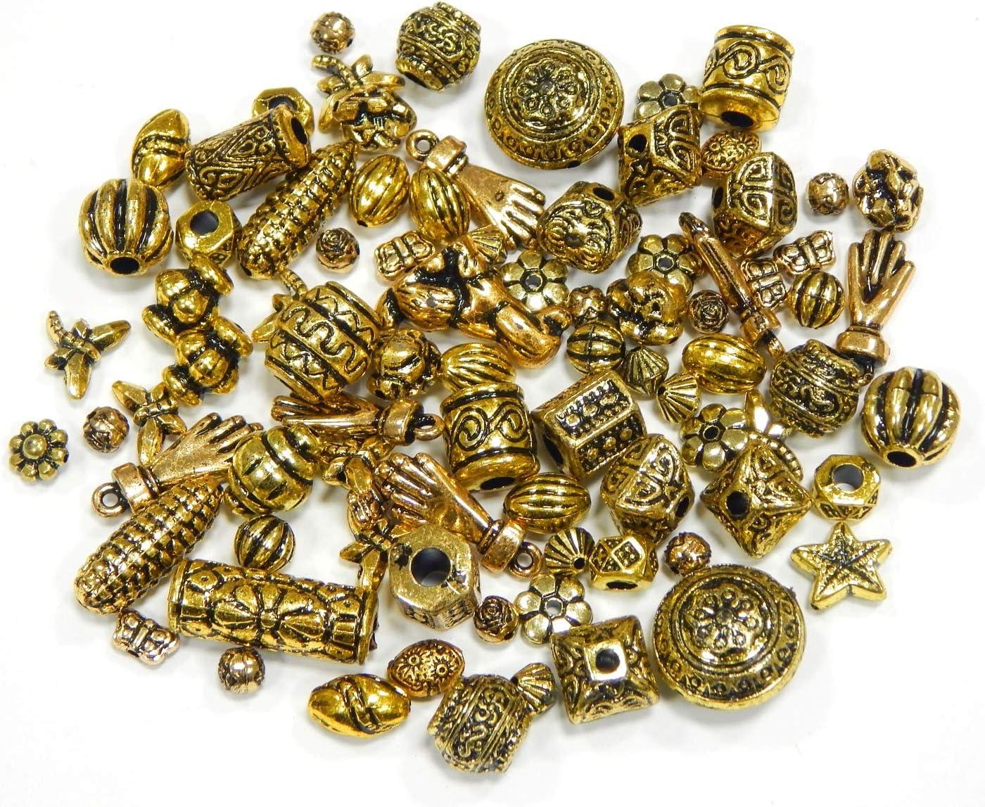 200 g de Perlas de plástico, Mezcla de Perlas de plástico Antiguo, Varios diseños, Color Dorado, Aspecto de Metal, Perla para Collares, Pulseras, Collares, Juego de Manualidades D119 x 4