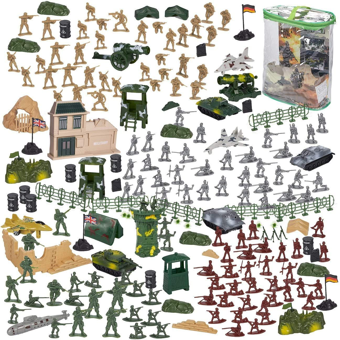Flags Battlefield Accessories Party Display Planes Military Toy Soldier Playset Tanks Blue Panda 300-Piece Army Action Figures Set