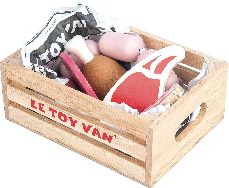 Le Toy Van - Educational Pretend Play Toy Food   Wooden Honeybee Market Meat Crate   Supermarket Pretend Play Shop Food