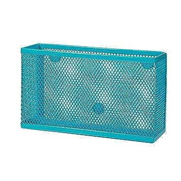 Wire Mesh Storage Bin   Turquoise