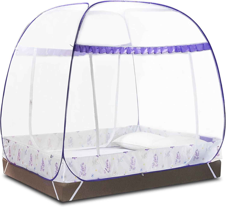 DIMPLES EXCEL Moustiquaire Tente pour lits doubles pliable avec fond complet pour lit double de 1,5 m x 2 m