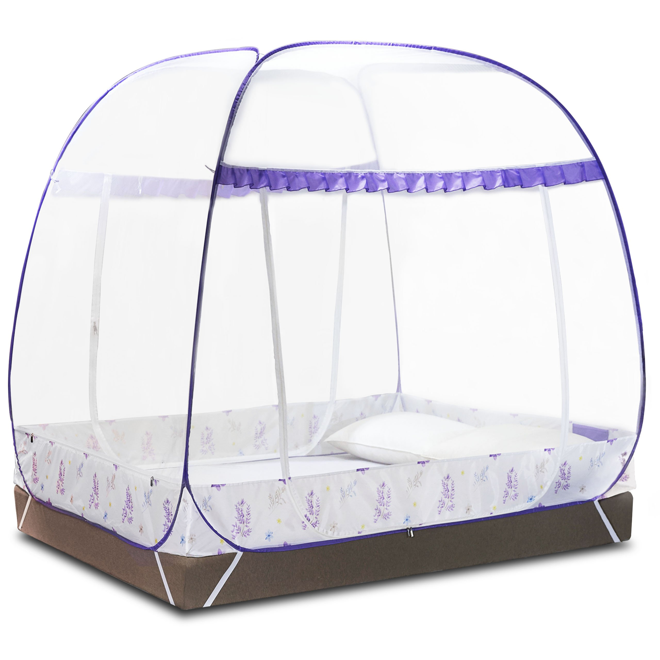 DIMPLES EXCEL Mosquito Bed Net Tent for Double Beds Foldable with full Bottom, 79'' (L) 59.1''(W) 67''(H) (2x1.5x1.45m) (Purple)