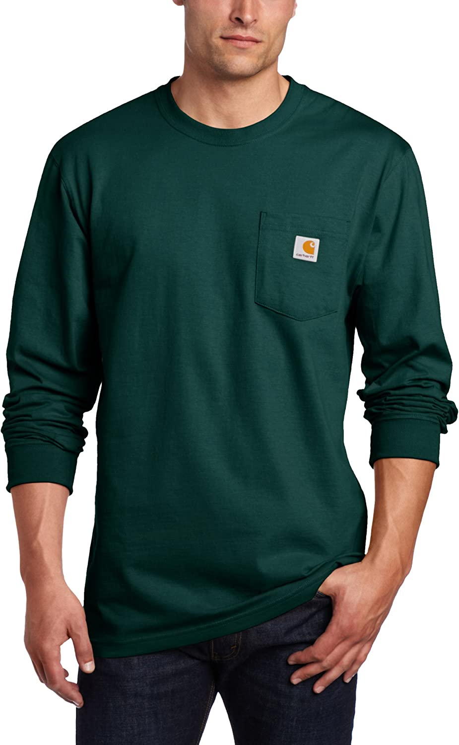 Carhartt Men's Workwear Jersey Pocket Long-Sleeve Shirt K126 (Regular and Big & Tall Sizes): Work Utility Shirts: Clothing