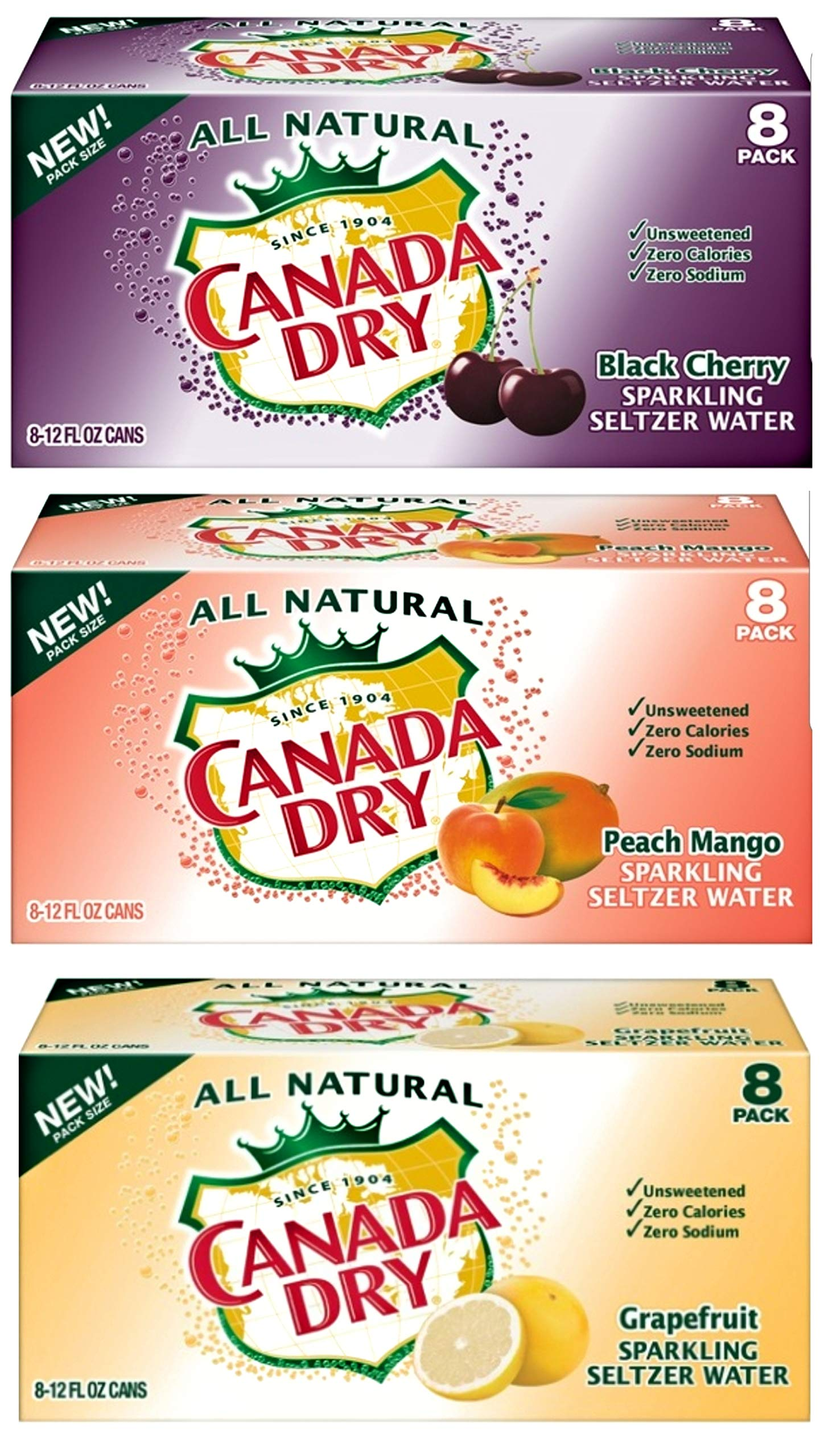 Canada Dry peach mango, grapefruit, black cherry sparkling seltzer water_variety packs, 12 oz can ( pack of 24, total 288 fl oz) by Canada Dry