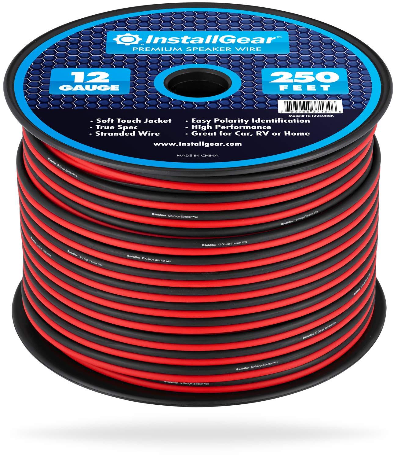 InstallGear 12 Gauge Speaker Wire (250-feet - Red/Black) by InstallGear