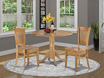 DLVA3-OAK-W 3 Pc Kitchen nook Dining set-small Table and 2 dinette Chairs  Chairs