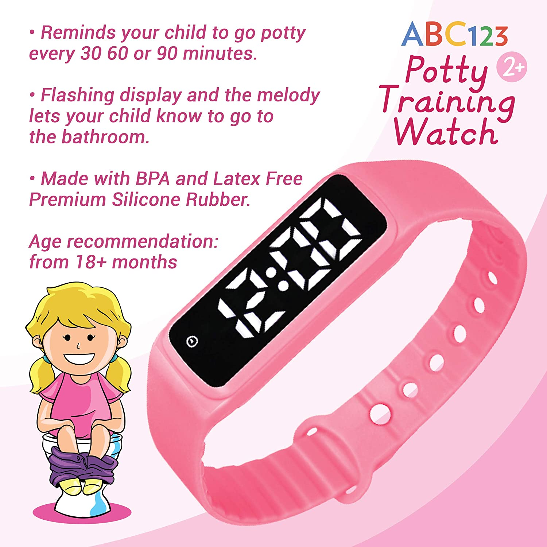 Abc123 Potty Training Watch - Baby Reminder Water Resistant Timer für Toilet Training Kids & Toddler (Pink)