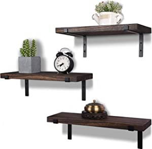 Rustic Wood Floating Shelves Wall Mounted Farmhouse Wooden Wall Shelf for Bathroom Kitchen Bedroom Living Room Set of 3 Dark Brown