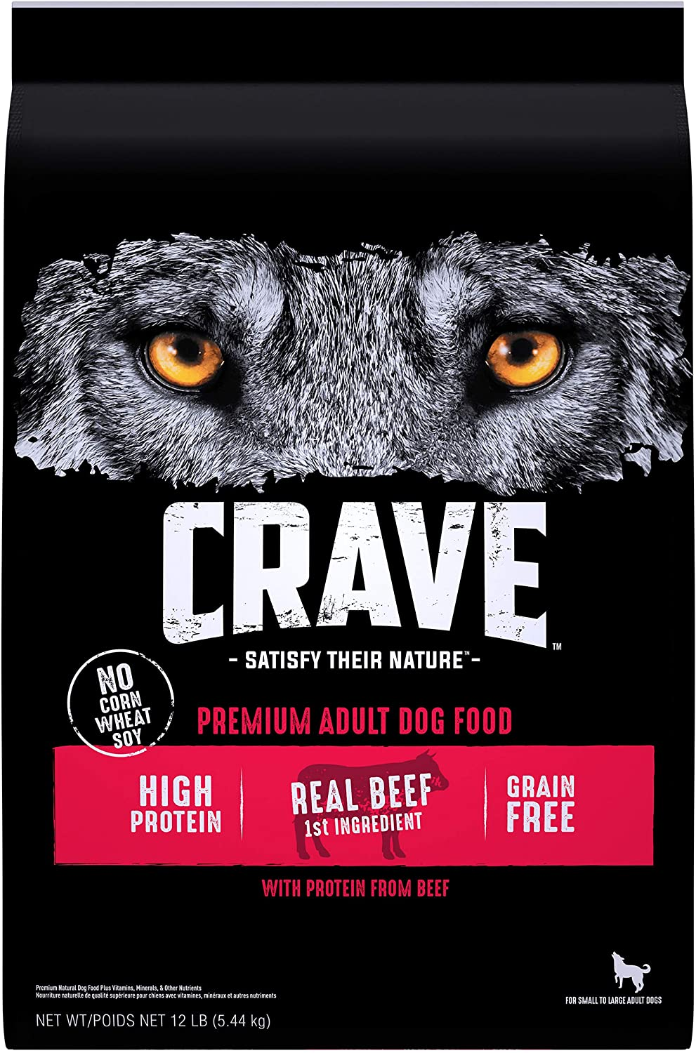 CRAVE Grain Free Adult High Protein Natural Dry Dog Food with Protein from Beef, 12 lb. Bag