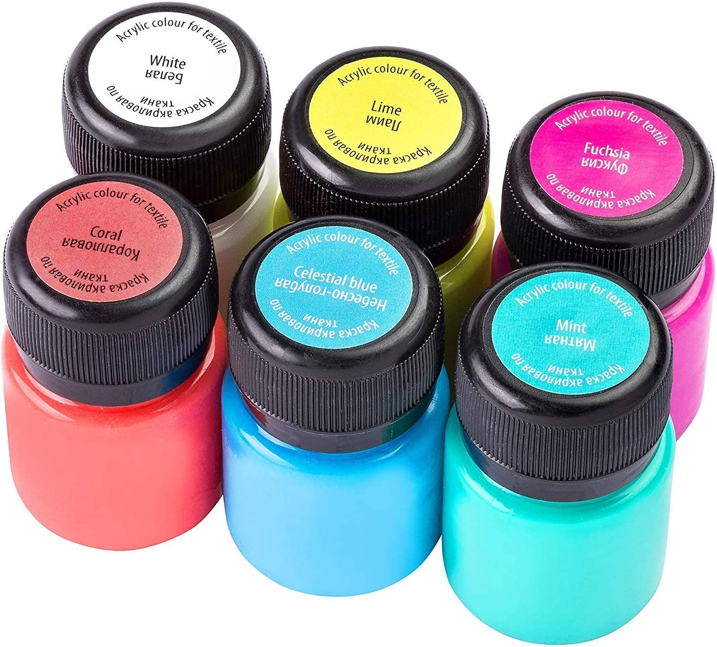 Pintura textil acrílica de alta calidad – a elegir:6 o 12 colores cada 20 ml - colores de tela lavables - Nevskaya Palitra (juego de 6)