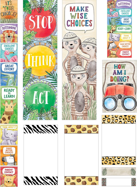 Creative Teaching Press Mini Bulletin Board Safari Friends Behavior Clip Chart Mini Bulletin Board, Ctp 2174 with