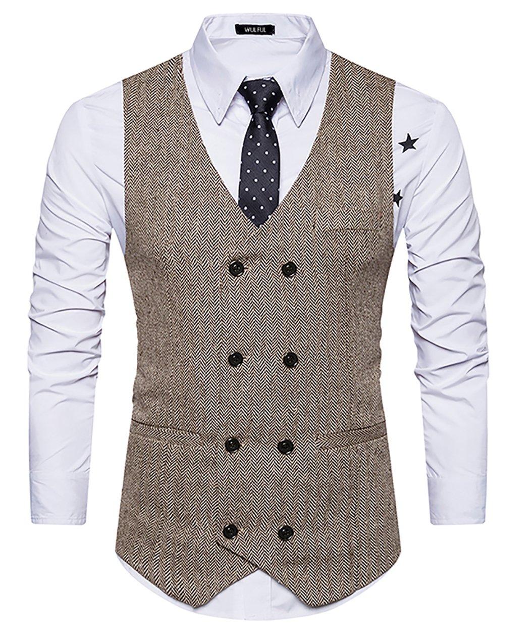 WULFUL Mens Slim Fit Double Breasted Tweed Waistcoat Vintage Gentleman Suit Vest Khaki L by WULFUL