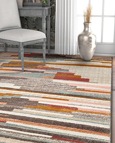Well Woven Wylie Stripes Multi Red Vintage Area Rug 5×7 5'3″ x 7'3″ Soft Plush Geometric Modern Southwest Inspired Lines Carpet