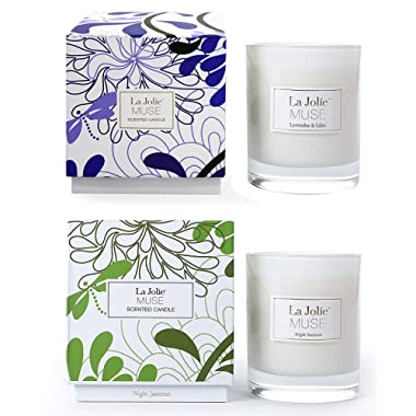 LA JOLIE MUSE Lavender Lilac&Jasmine Scented Candles Aromatherapy Soy Wax, 2 Pack 8.1 oz Each, Gift Candles Home Decoration
