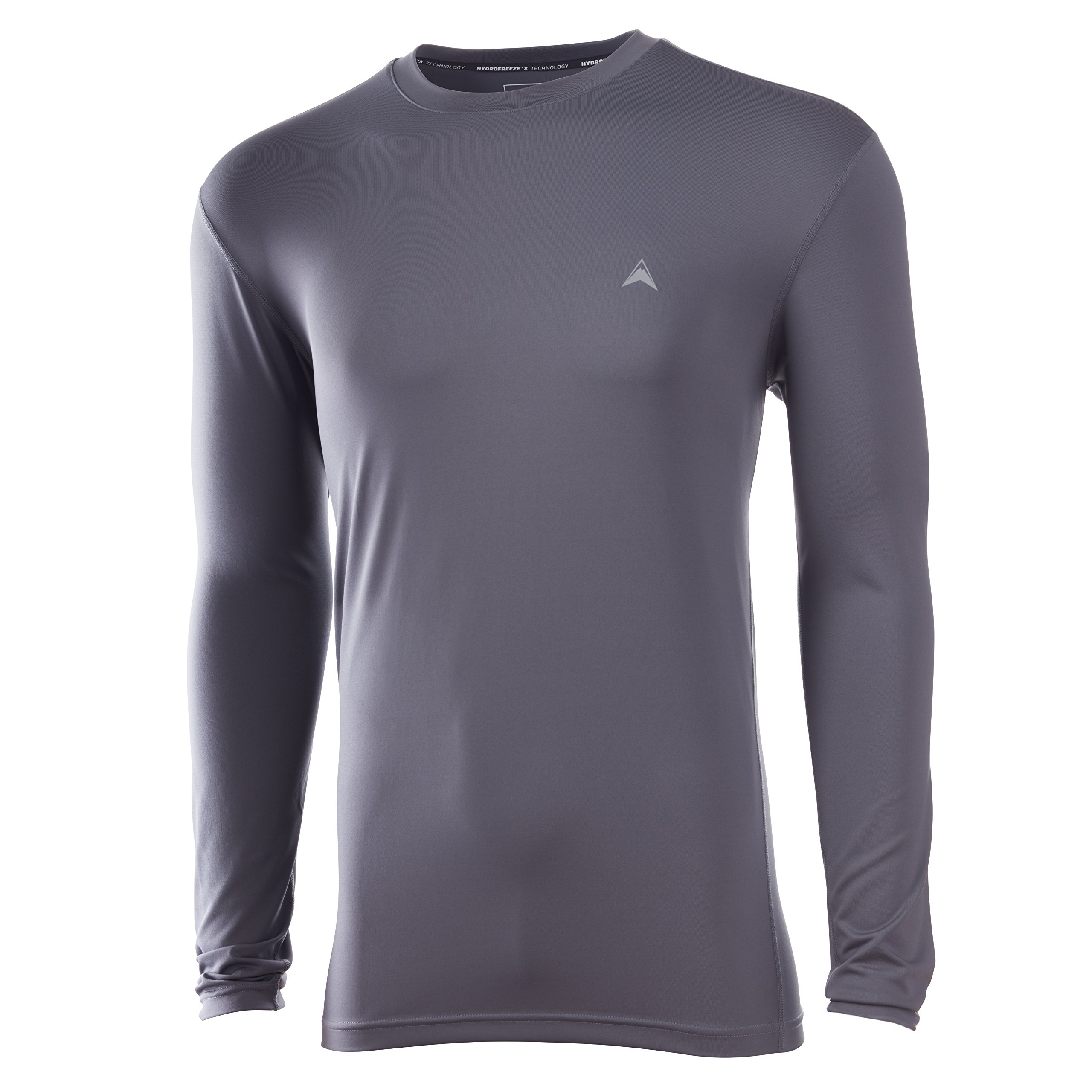 Arctic Cool Men's Solid Crew Neck Instant Cooling Long Sleeve Shirt with UPF 50+ Sun Protection, Storm Grey, XXL