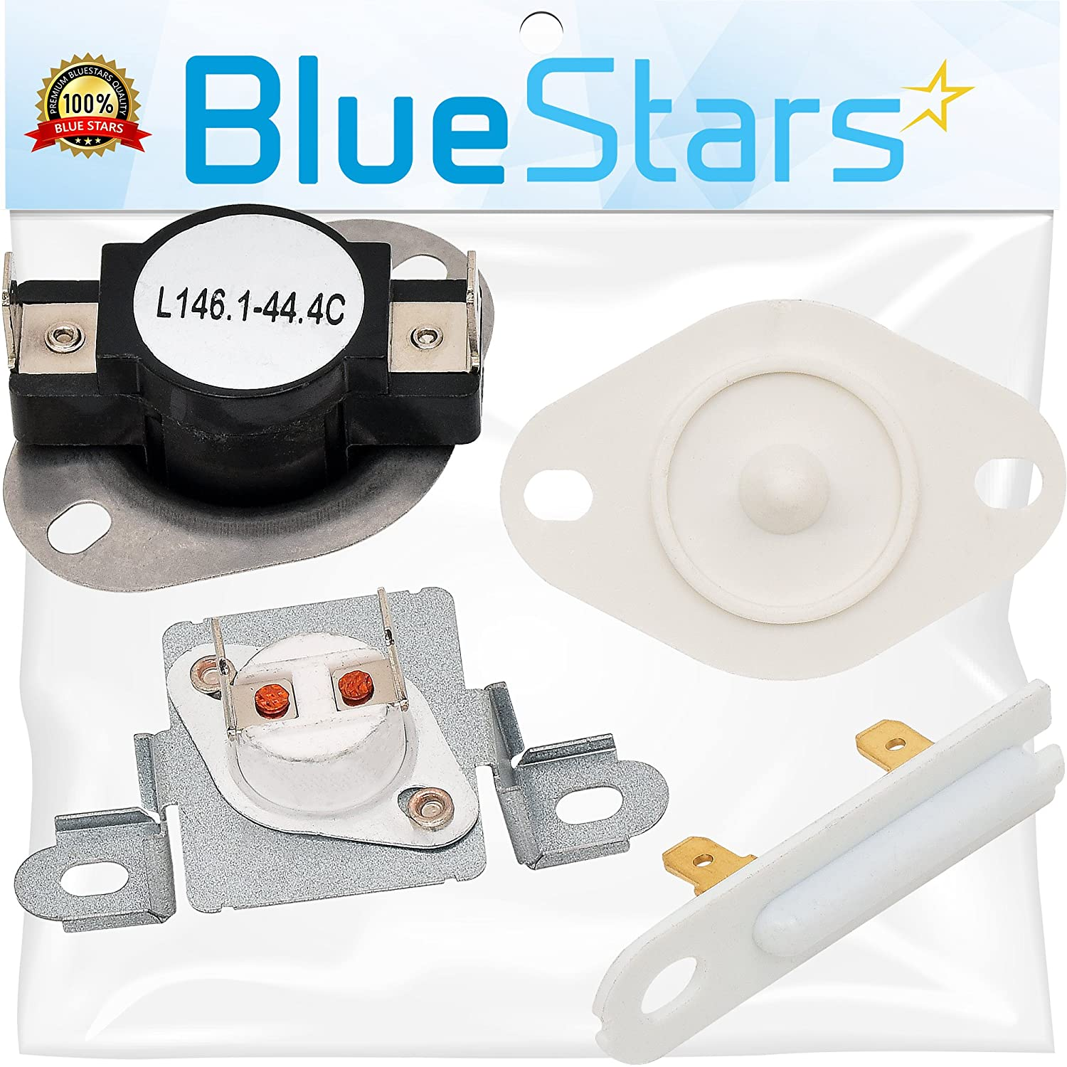 3392519 & 8577274 & 279973 Dryer Thermal Cut-Off Fuse Kit with Thermistor and Thermal Fuse Replacement Kit by Blue Stars - Exact Fit for Whirlpool & Kenmore Dryers