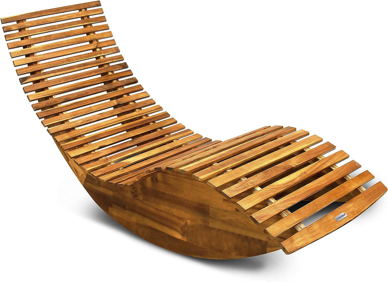 Casaria Tumbona mecedora con forma ergonómica de madera de acacia función balancín chaise longue 150x60x93cm jardín