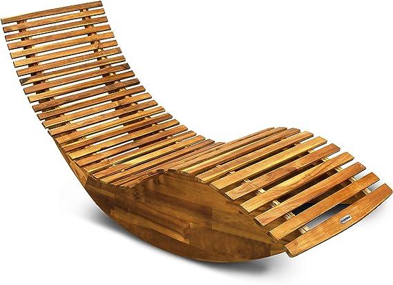 Casaria Tumbona mecedora con forma ergonómica de madera de acacia función balancín chaise longue 150x60x93cm jardín: Amazon.es: Jardín