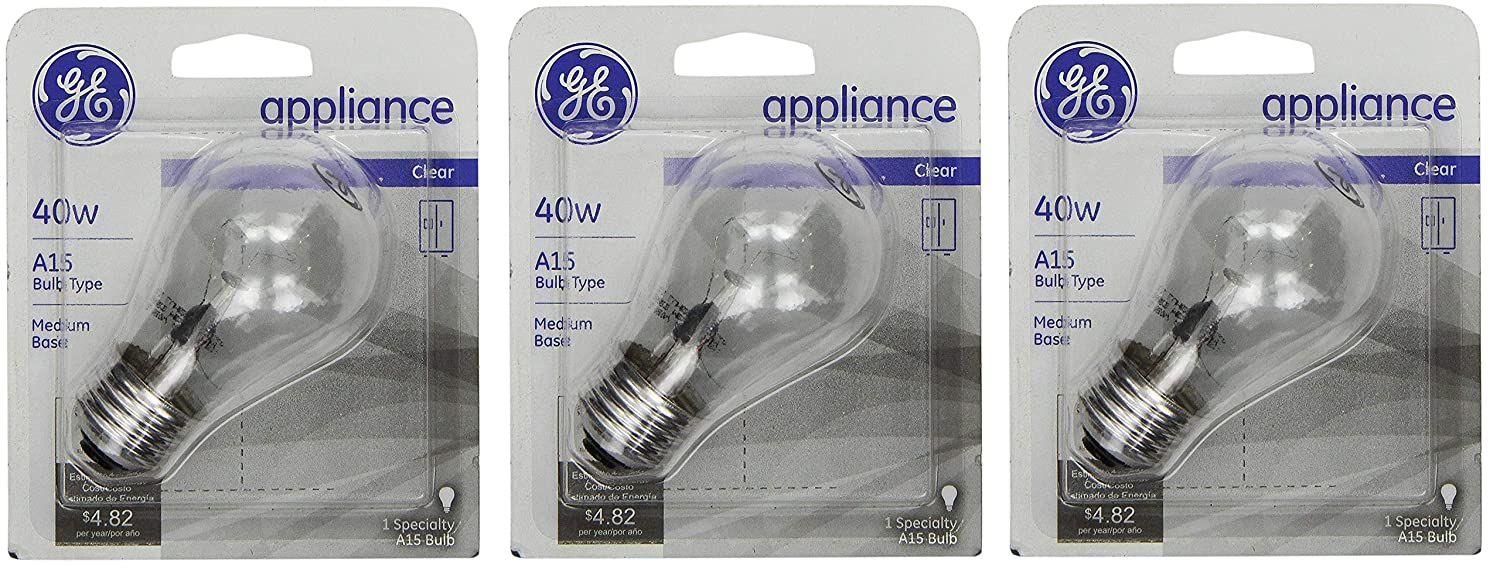 GE 15206, 40-Watt, Appliance Bulb, Medium Base, A15 Bulb Shape, 3-pk, 120-Volt