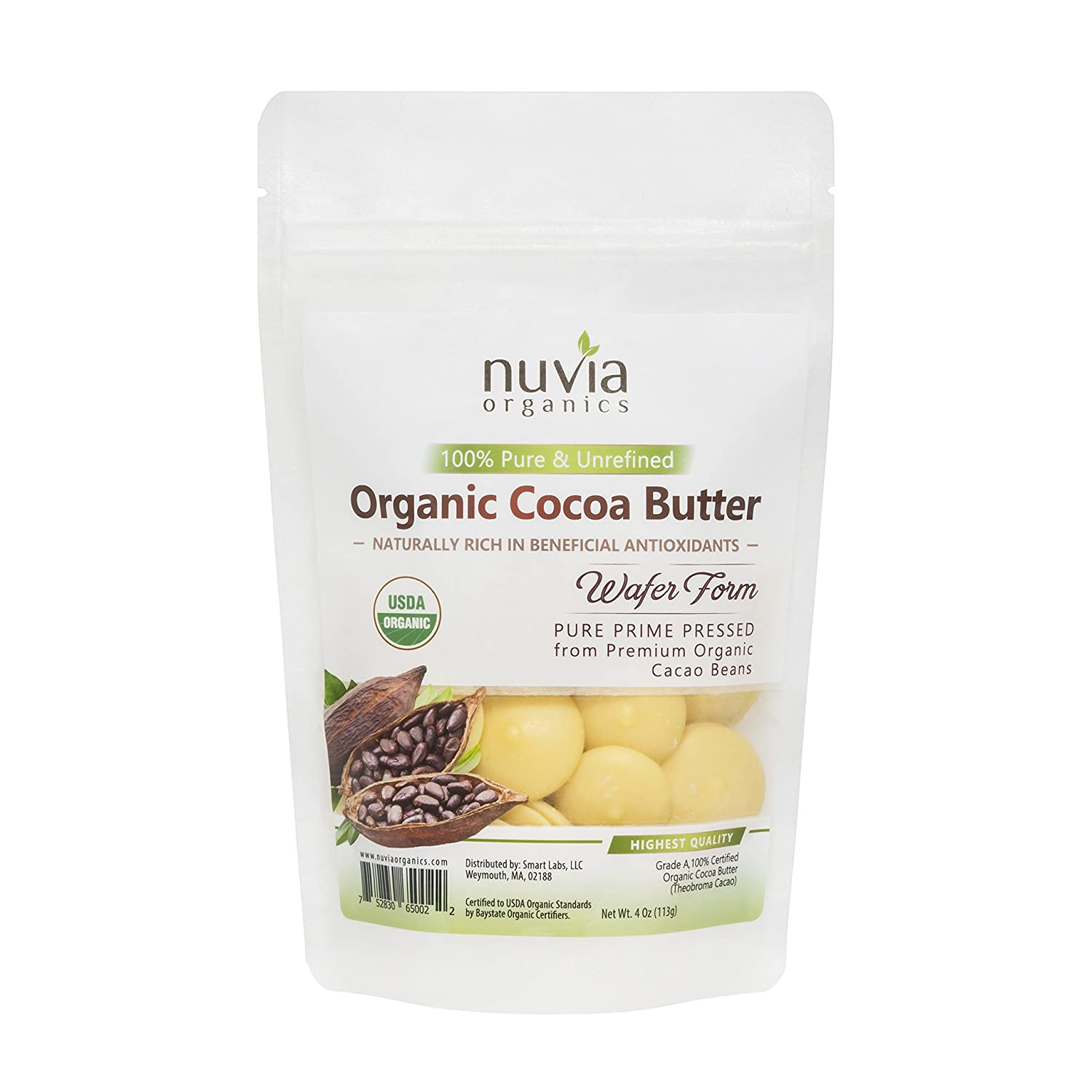 Organic Cocoa Butter Wafers - 100% Certified Organic, Pure Raw Unrefined Pressed Wafers, 4 oz