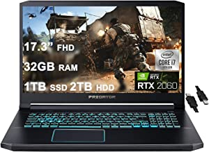 """Acer 2021 Flagship Predator Helios 300 Gaming 17 Laptop 17.3"""" FHD 144Hz IPS 10th Gen Intel 6-Core i7-10750H 32GB RAM 1TB SSD + 2TB HDD GeForce RTX 2060 6GB Backlit USB-C Win10 + iCarp HDMI Cable"""