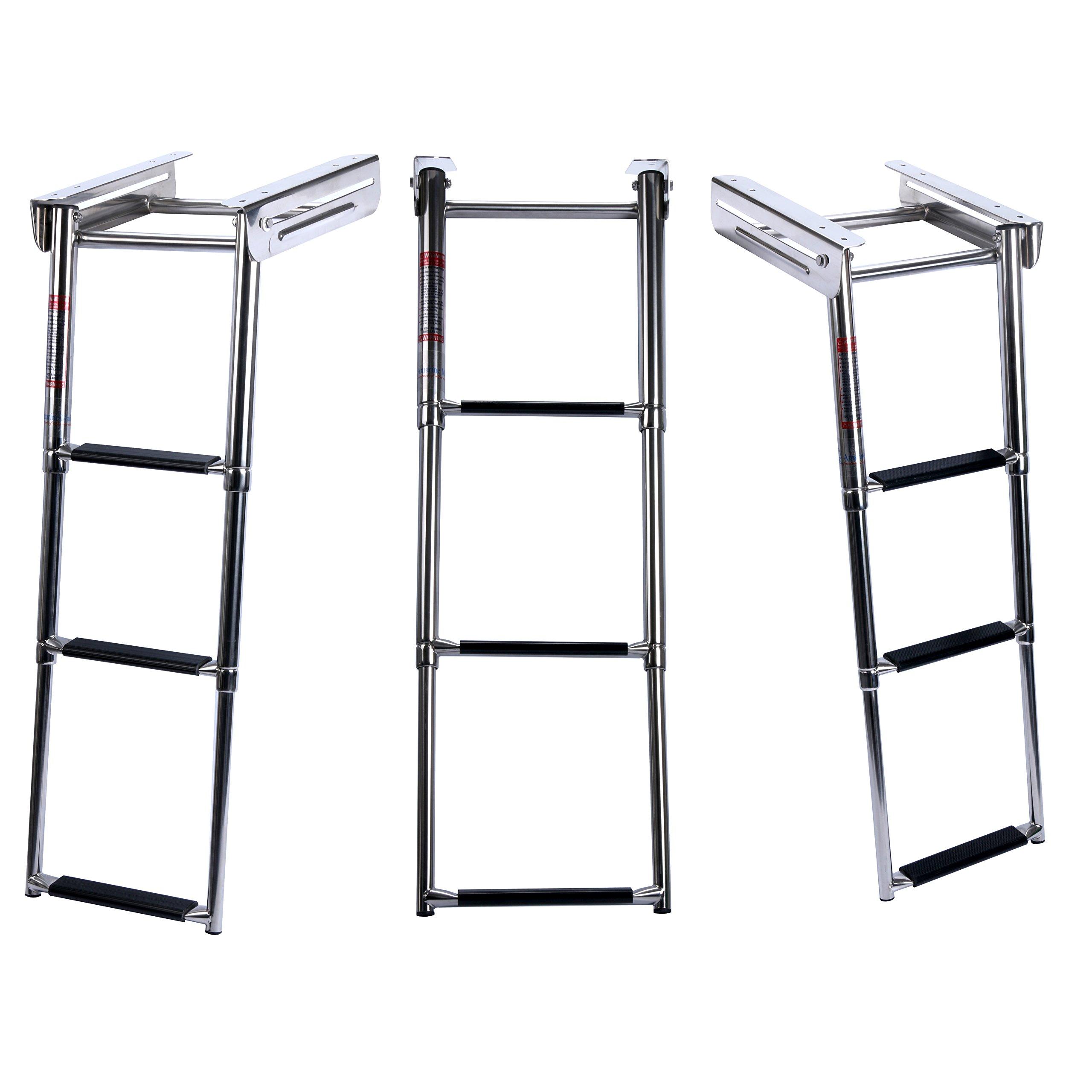 Amarine-made 3-step Under Platform Slide Mount Boat Boarding Ladder, Telescoping, Stainless Steel