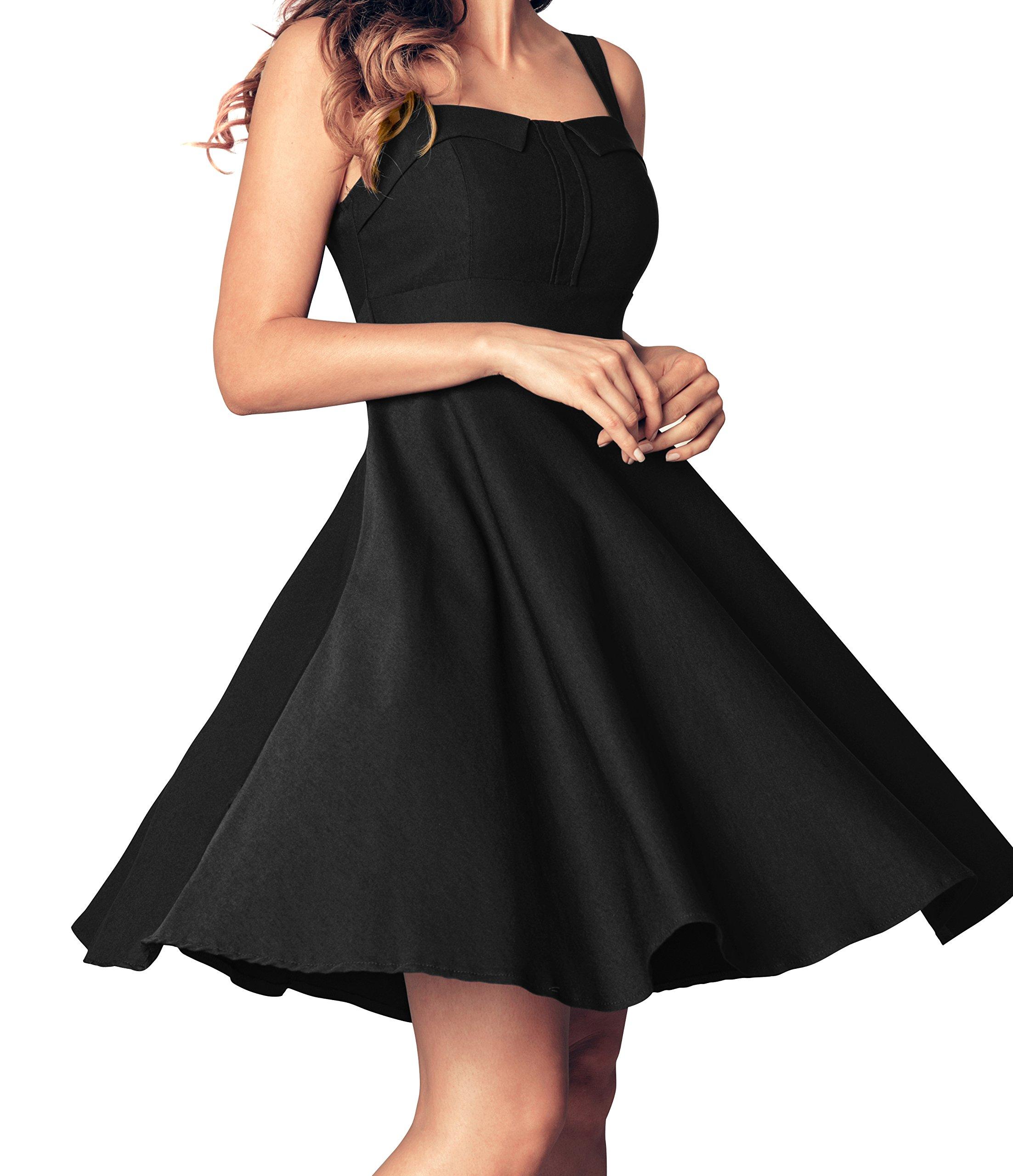 Angerella Retro Dresses for Women Vintage Black Party Sleeveless Dress