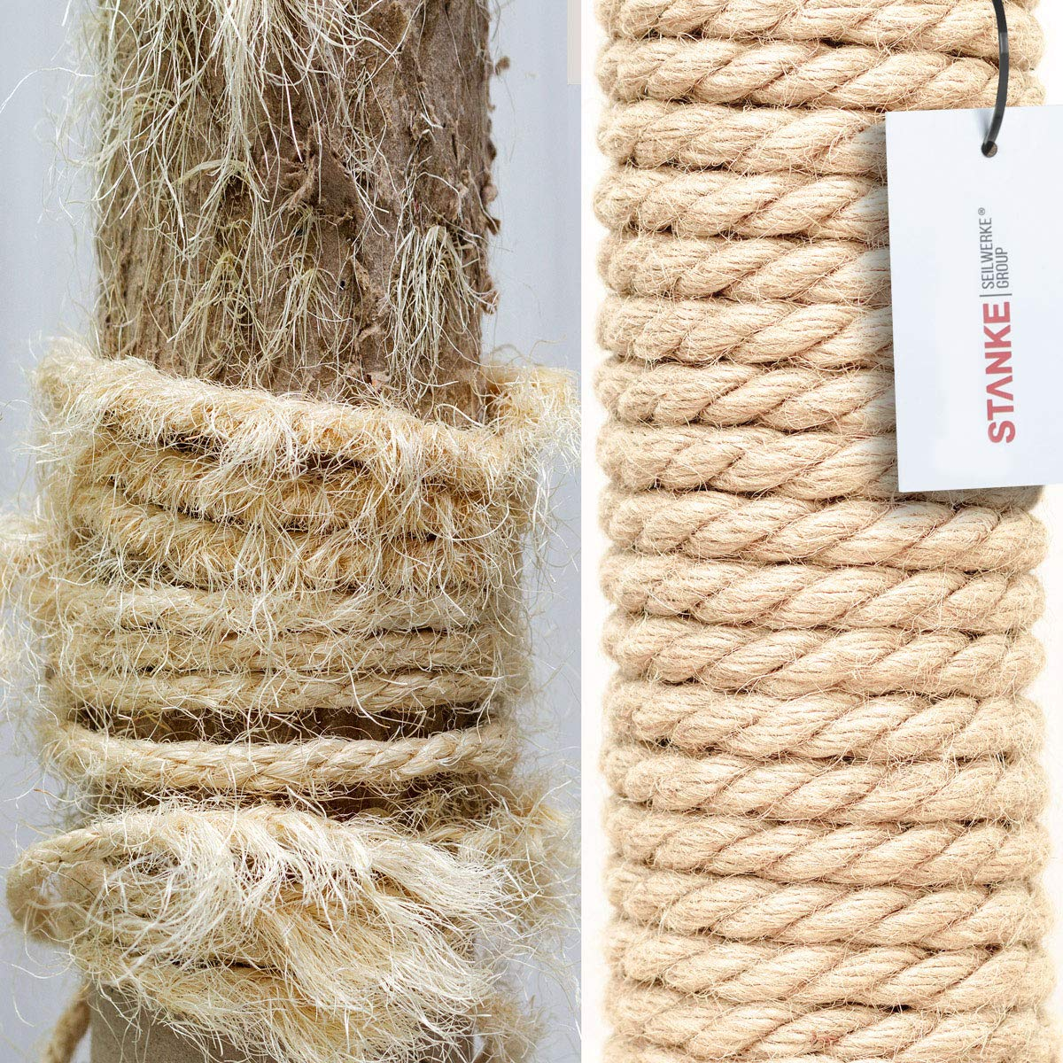 Seilwerk STANKE Corde de sisal Torsad/ée 50 m 10 mm Fibress Naturelles Corde Naturelle Grattoir pour Chat