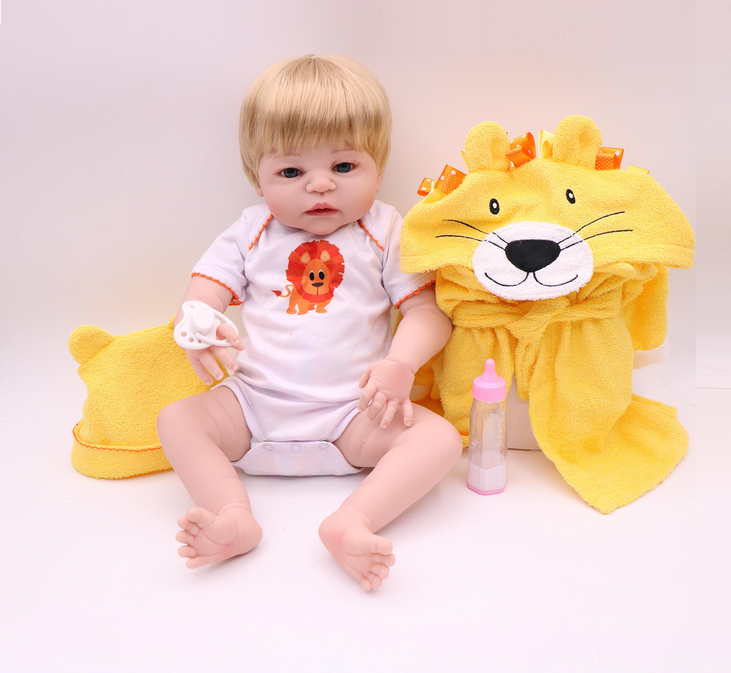 Pursue Baby Washable Full Body Lifelike Newborn Baby Girl Doll with Blonde Hair Patricia, 22 Inch Fully Poseable Real Life Baby Doll