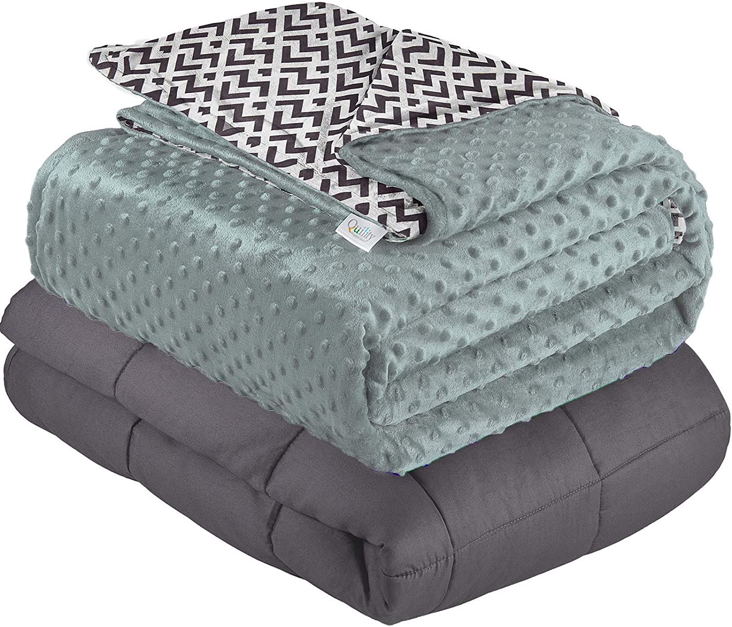 Quility Premium Cotton 86 by 92 in for Full Size Bed 15 lbs Adult Weighted Blanket Grey with Removable Duvet Cover Chevron Print