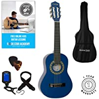 Acoustic Guitar Package 1/4 Sized (31' inch) Age 3 to 6 Classical Nylon String Childs Guitar Pack Blue
