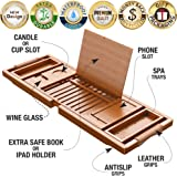 YM Lux Craft Bamboo Bathtub Caddy Tray [Durable, Non-Slip], 1-2 Adults Expandable Bathtub Tray, Beautiful Gift Box, Fits Any